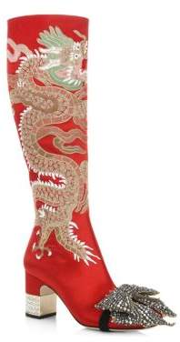 Gucci Candy Dragon-Embroidered Satin Tall Boots