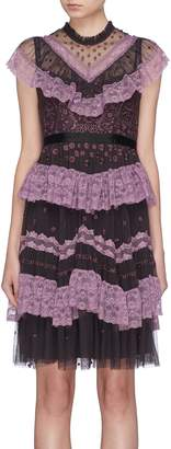Needle & Thread 'Astra' ruffle lace trim floral embroidered tulle dress