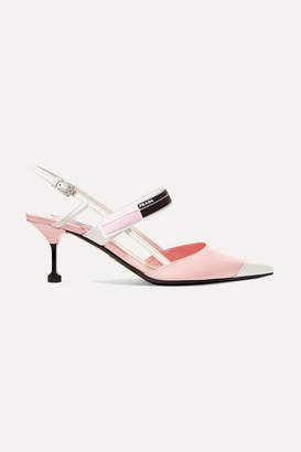 Prada Logo-print Glossed-leather Slingback Pumps - Baby pink