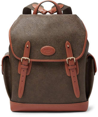 Mulberry Heritage Leather-Trimmed Pebble-Grain Coated-Canvas Backpack