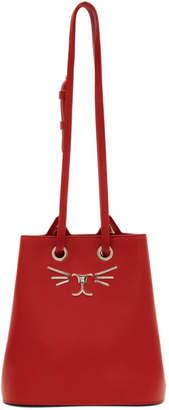 Charlotte Olympia Red Feline Bucket Bag