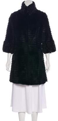 Fur Tiered Appliqué-Accented Coat