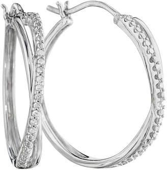 JCPenney FINE JEWELRY 1/10 CT. T.W. Diamond Sterling Silver X-Hoop Earrings