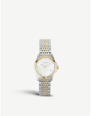 Gucci YA126513 G-Timeless Collection stainless steel and yellow-gold PVD watch
