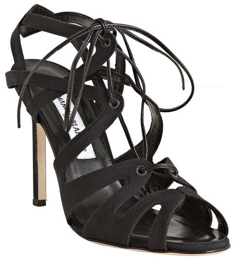 Manolo Blahnik black fabric 'Netochka' lace-up sandals
