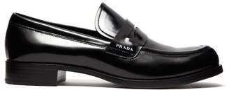 Prada Logo Leather Penny Loafers - Womens - Black