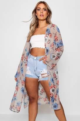 boohoo Plus Floral Midi Length Kimono