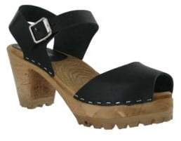 Mia Greta Leather Ankle Strap Clogs