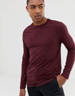 60918e20e31 Asos Design DESIGN organic long sleeve t-shirt with crew neck in burgundy