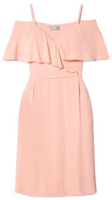 Paul & Joe Severiny Cold-shoulder Ruffled Crepe Midi Dress - Pastel pink