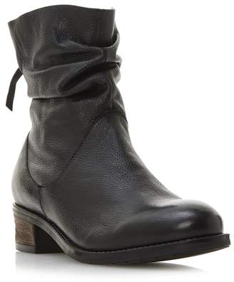 Dune Black Leather 'Wf Pagerss' Block Heel Wide Fit Ankle Boots