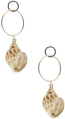 Saachi Underwater Double Hoop Shell Drop Earrings