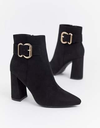 New Look buckle detail heeled boot in black