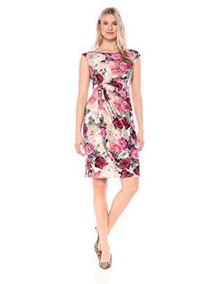 Connected Apparel Women's Cap Sleeve Rose Print Sarong Dress