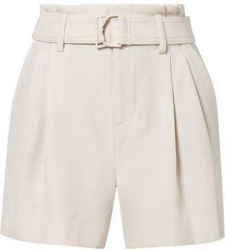 Vince Belted Pleated Crepe Shorts - Off-white