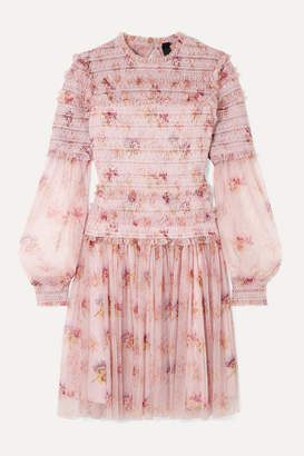Needle & Thread Think Of Me Sequined Shirred Floral-print Tulle Mini Dress - Pastel pink