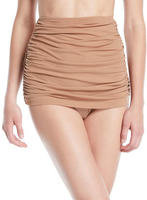 Norma Kamali Bill Shirred High-Waist Skirted Bikini Swim Bottoms