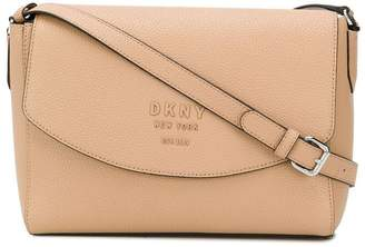 DKNY beige leather shoulder bag