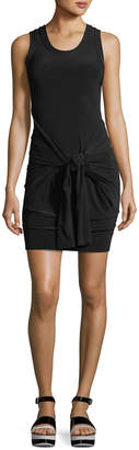 Norma Kamali Front-Tie Racerback Fitted Mini Coverup Dress