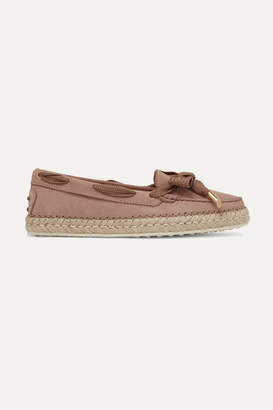 Tod's Gommino Bow-detailed Nubuck Espadrilles - Blush