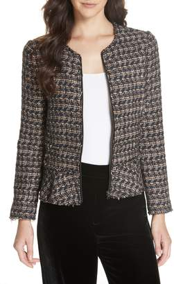 Rebecca Taylor Zip Front Tweed Peplum Jacket