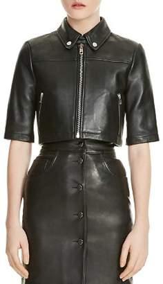 Maje Brittany Cropped Leather Shirt Jacket