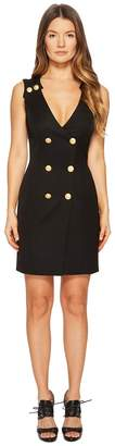 Pierre Balmain Gold Embellished Buttoned Dress Women's Dress
