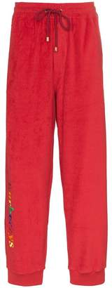 Burberry Red rainbow logo detail tracksuit bottoms