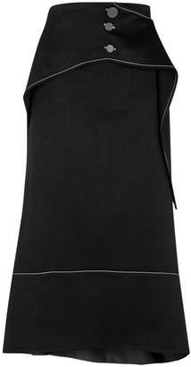 Ellery Yale Asymmetric Satin Midi Skirt