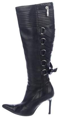 Versace Leather Knee-High Boots