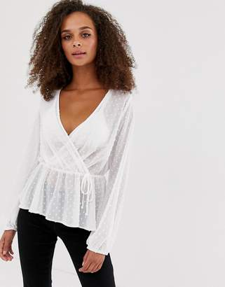 New Look wrap front blouse in white spot print