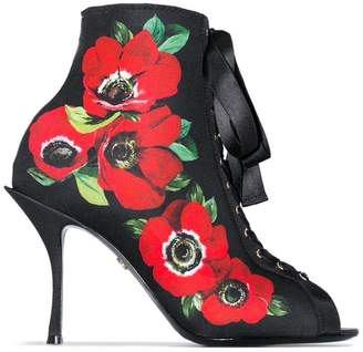 Dolce & Gabbana black 90 floral print lace-up stretch jersey ankle boots
