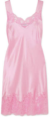 Lace-trimmed Silk-satin Mini Dress - Pink
