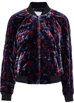 Joie Mace Quilted Floral-Print Velvet Bomber Jacket