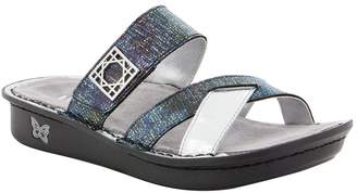 Alegria Women's, Victoriah Slide Sandals Black Silver 3.6 M