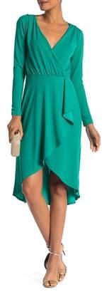 Vanity Room Solid Knit Surplice Wrap Dress