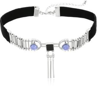 Danielle Nicole Rohe Silver / Purple / Black Choker Necklace