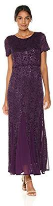 R & M Richards R&M Richards Women's Lace Popover Long Dress with Godets Missy