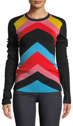 Diane von Furstenberg Rainbow Chevron-Stripe Crewneck Sweater