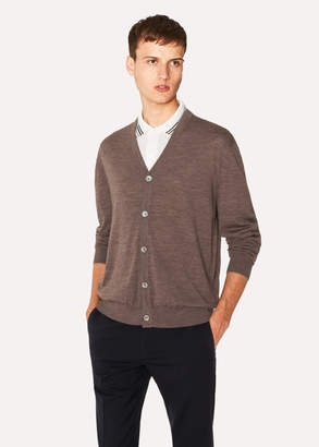 Paul Smith Men's Taupe Merino Wool Cardigan With Contrast Internal Trims