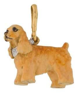 18K Diamond & Enamel Dog Pendant