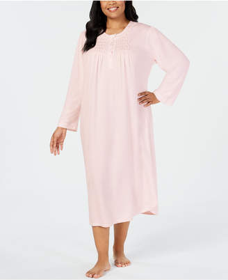 Miss Elaine Plus Size Smocked Pointelle Knit Nightgown