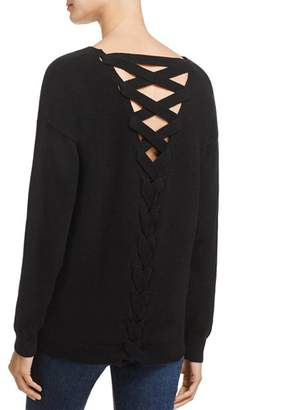 Aqua Lace-Up Back Cashmere Sweater - 100% Exclusive
