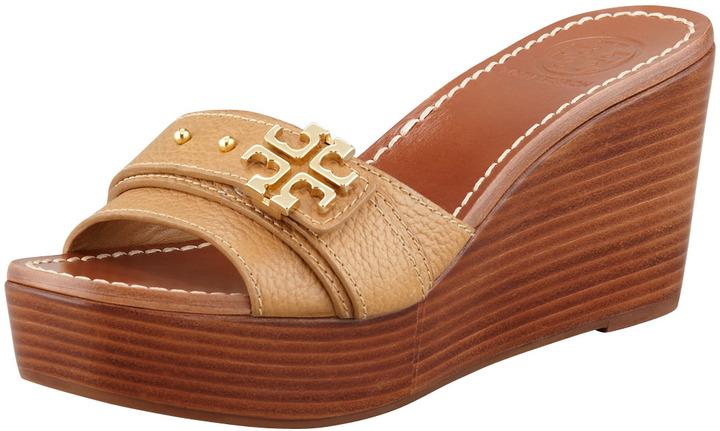 Tory Burch Elina Mid-Wedge Slide Sandal