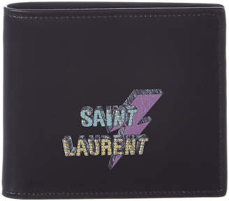 Saint Laurent Eclair Studded East/West Leather Bifold Wallet