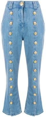 Balmain button seam cropped jeans