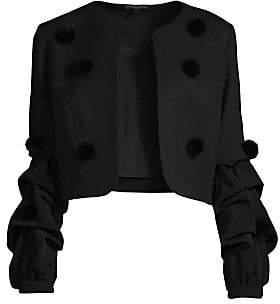 Alberto Makali Women's Faux Fur Pom-Pom Ruched Sleeve Jacket
