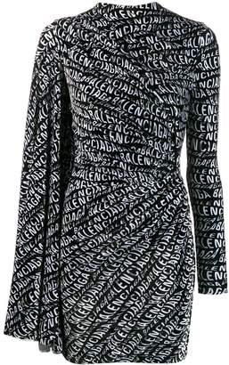 Balenciaga asymmetrical logo drape dress
