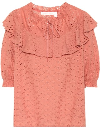 See by Chloe Cotton eyelet top