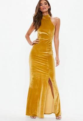 Missguided Gold Velvet Choker Maxi Dress, Gold